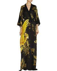 Roberto Cavalli Chimera Printed Silk Crepe De Chine Kimono-style Dress - Lyst