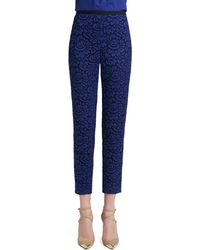 St. John Collection Graphic Lace Cropped Pants with Grosgrain - Lyst