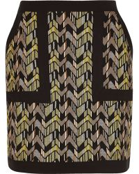 River Island | Green Zig Zag Jacquard Mini Skirt Green Jacquard Oversized Belted Jacket | Lyst