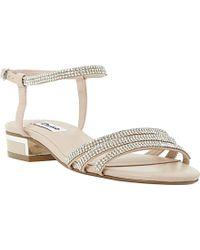 Dune Nelli Strappy Diamante Block Heel Sandals - Lyst