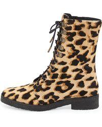 Diane von Furstenberg   Ace Leopard-print Calf Hair Combat Boot   Lyst