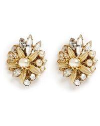 Miriam Haskell Crystal Pearl Floral Cluster Stud Earrings white - Lyst