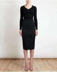 Olympia Le-Tan Wool Pencil Skirt with Velvet Heart - Lyst