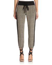Tamara Mellon Printed Silk Track Pants - Lyst