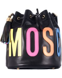 Moschino Black Leather Big Tote Bag With Embroidery Logo - Lyst