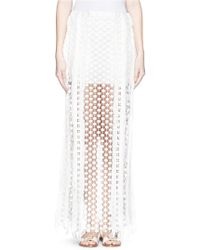 Chloé Sheer Geometric Lace Maxi Skirt white - Lyst