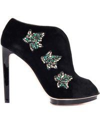 Alexander McQueen Velvet Ivy Platform Ankle Boots black - Lyst