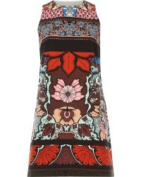 River Island Brown Textured Floral Print Shift Dress - Lyst