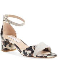 Diane von Furstenberg | Florence Leopard-Print Ankle Strap Sandals | Lyst