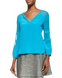 Nanette Lepore Untamed Top W Semi-sheer Insets - Lyst