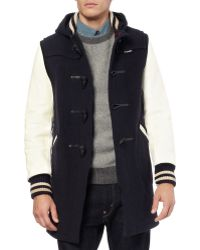Junya Watanabe Gloverall Leather-Sleeve Wool-Blend Duffle Coat - Lyst