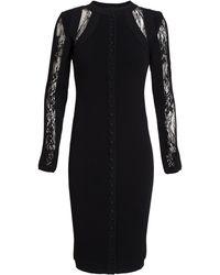 Antonio Berardi Buttoned Lace Insert Dress - Lyst