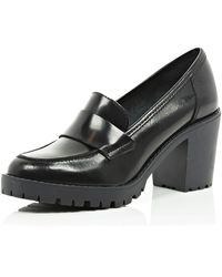 River Island Black Cleated Sole Block Heel Loafers - Lyst