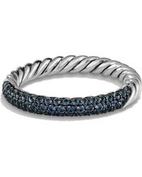 David Yurman Petite Pave Ring with Blue Sapphires - Lyst