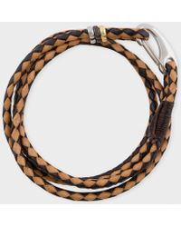 Paul Smith - Men's Black And Taupe Leather Wrap Bracelet - Lyst