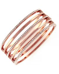 Vince Camuto Rose Gold Tone and Crystal Stacked Bangle Bracelet - Lyst