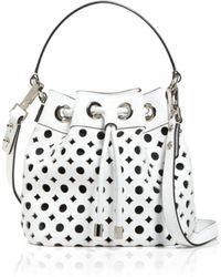 Milly Shoulder Bag - Small Perforated Bucket Drawstring white - Lyst