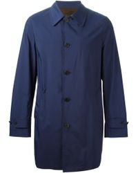 Canali Blue Buttoned Raincoat - Lyst