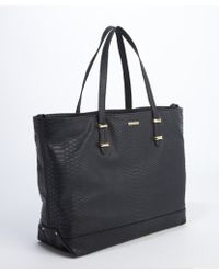 Rebecca Minkoff Black Faux Leather Embossed Cherish Tote - Lyst