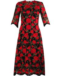 Dolce & Gabbana Rose-Embroidered Lace Dress - Lyst