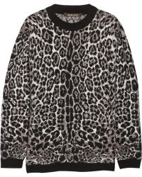 Roberto Cavalli Oversized Leopard Print Knitted Sweater - Lyst