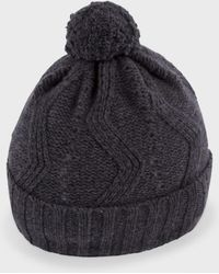Paul Smith Grey 'Optical' Pattern Knitted Lambswool Bobble Hat - Lyst