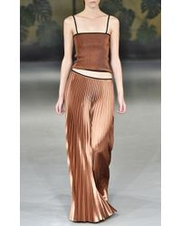 Barbara Casasola Pleated Bronze Skirt and Top Combo - Lyst