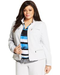 Jones New York Collection Plus Size Zip-Front Jacket - Lyst