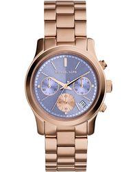 Michael Kors Women'S Chronograph Runway Rose Gold-Tone Stainless Steel Bracelet Watch 38Mm Mk6163 - Lyst