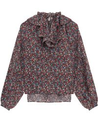 Paul & Joe Floral Print Silk Blousew Ruff - Lyst