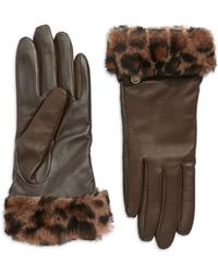 Ugg Fur Cuff Leather Gloves - Lyst