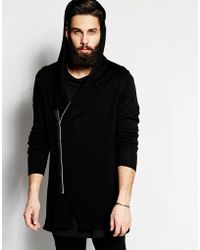 Asos Longline Hooded Cardigan With Zip - Lyst