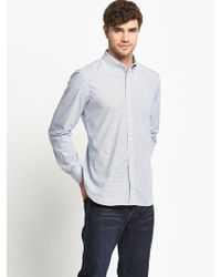 French Connection Micro Geo Bacon Mens Long Sleeve Shirt - Lyst