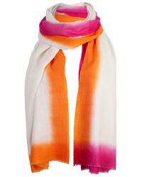 Rose & Rose Orange 2 Tone Dipped Cashmere Scarf - Lyst