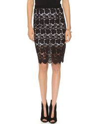 Rebecca Minkoff Angelica Lace Skirt  Black - Lyst