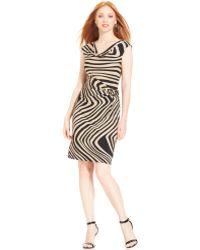 Tahari By Asl Capsleeve Printed Draped Dress - Lyst