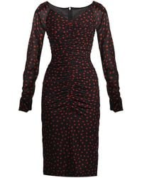 Dolce & Gabbana Polka-Dot Print Ruched Dress red - Lyst