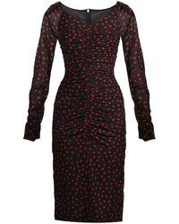 Dolce & Gabbana Polka-Dot Print Ruched Dress red - Lyst
