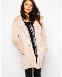 Esprit Faux Fur Hooded Coat - Lyst