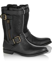 Burberry Shoes & Accessories Leather Suede and Shearling Biker Boots - Lyst