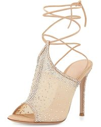 Gianvito Rossi Organza Crystal Lace-Up Sandal - Lyst