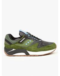 Saucony Mens Green Suede Grid Sneakers - Lyst