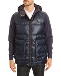 Lacoste Navy And Grey Sleeveless Reversible Hooded Anorak - Lyst