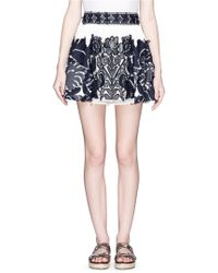 Chloé Guipure Lace Panel Floral Jacquard Flare Skirt blue - Lyst
