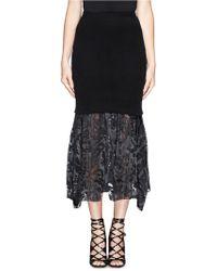 Preen Mira Rib Knit Sheer Satin Underlay Skirt - Lyst