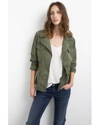 Velvet By Graham & Spencer Makenzie Forest Cotton Twill Utility Jacket green - Lyst