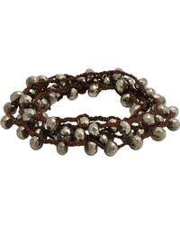 Feathered Soul - Pyrite Bead & Braided Silk Wrap Bracelet-silver - Lyst
