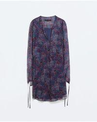 Zara Tied Cuff Print Dress - Lyst