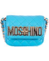Moschino Blue Sky Leather Shoulder Mini Bag blue - Lyst