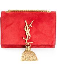 Saint Laurent Monogramme Suede Shoulder Bag - Lyst